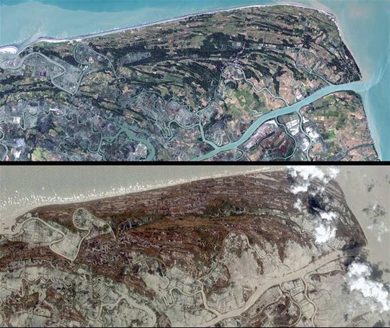 Porównanie dwóch zdjęć. Pierwsze z przed Cyklonu, drugie po