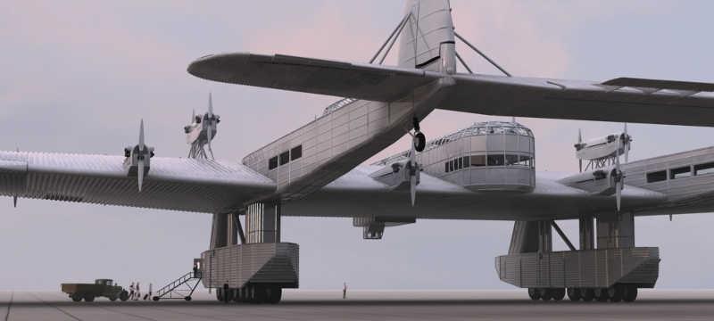 Widok samolotu od tyłu z widocznymi przeszkleniami kabiny