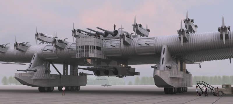 Gigantyczny samolot K-7 i stojący przy nim ludzie