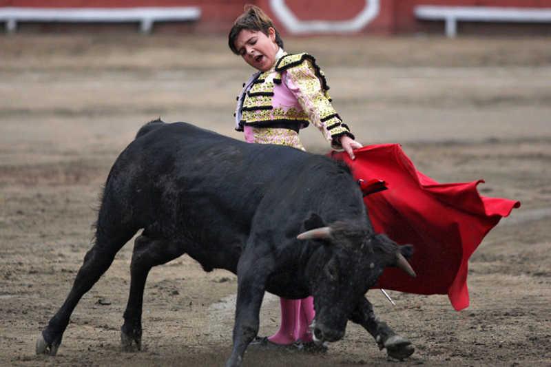 Chłopiec robi unik podczas walki z bykiem