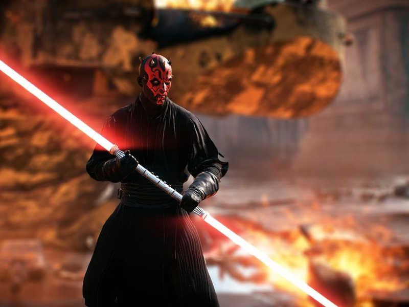 Czarny wojownik z Gwiezdnych Wojen z mieczem
