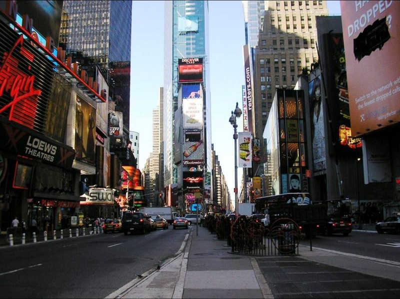 Jedna z ulic Nowego Jorku o zmierzchu