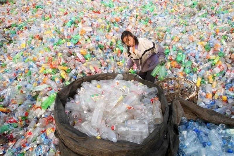 Dziewczyna wśród tysięcy plastikowych butelek