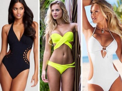 Trzy modelki w kolorowych kostiumach kąpielowych